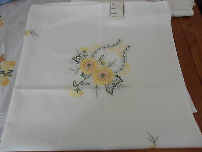 Vintage cream machine embroidered tablecloth