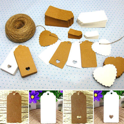 #EF# 10 Kraft Paper Gift Wedding Scallop Label Blank Luggage Tags & Strings