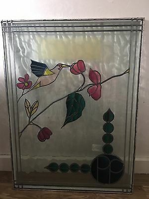 stain glass window hummingbird picture width 25 inch length 34 inch