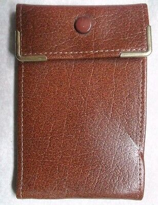 REAL LEATHER TAN BROWN VINTAGE I.D. CREDIT BUSINESS CARD WALLET 1980s 1990s