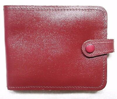 REAL LEATHER  OXBLOOD VINTAGE CARD NOTES COINS WALLET 1970s 1980s BI-FOLD