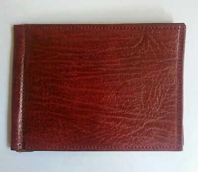 REAL LEATHER  OXBLOOD VINTAGE CARD NOTES WALLET 1970s 1980s BI-FOLD UNUSED