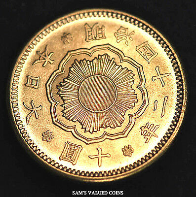 1909 (M42) Japanese 10 Yen Gold Coin  ~ 1/4 Oz Gold -  (Ms)