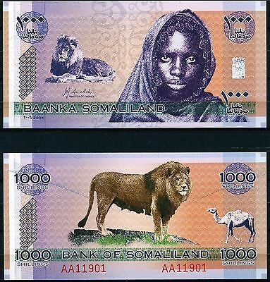 Somaliland 2006 1000 Shillings Girl & Lion AA119 Series CRISP Uncirculated (s97