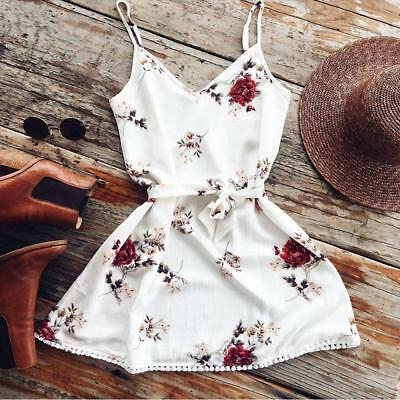 S Women Fashion Summer Sleeveless Floral Evening Party Cocktail Short Mini Dress