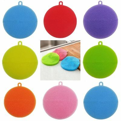 Silicone Dish Brush Washing Sponge Scrubber Kitchen Clean Antibacterial Tool