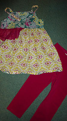 Girls 8 10 outfit set capri pants spaghetti strap shirt top Tea Collection NWT