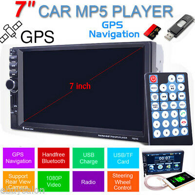 7'' HD Bluetooth Autoradio Coche MP5 Reproductor GPS Navegación FM AUX-IN USB SD