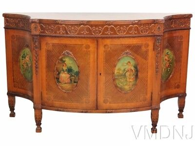 VMD1530 Adams Style Paint Decorated Inlaid Commode