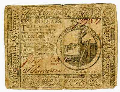 November 29Th 1775 - $2 Continental Currency Fr#cc2 - Vg