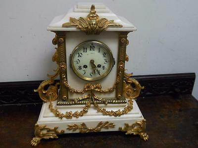 large white marble and ormolu striking mantel clock c1880s