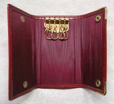 COMPACT DARK RED  REAL LEATHER VINTAGE KEY WALLET 1980s 1990s UPSCALE SERVICES