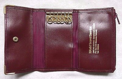 COMPACT REAL LEATHER VINTAGE KEY & CARD WALLET 1980s 1990s WORLD TRAVEL SERVICE