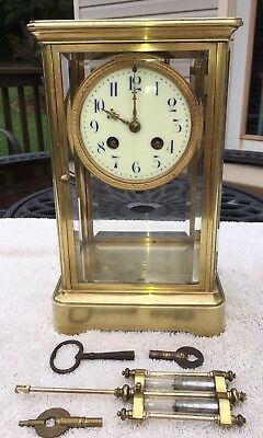 1900's Antique French Crystal Regulator Mantel Shelf Desk Clock Working J.Freres