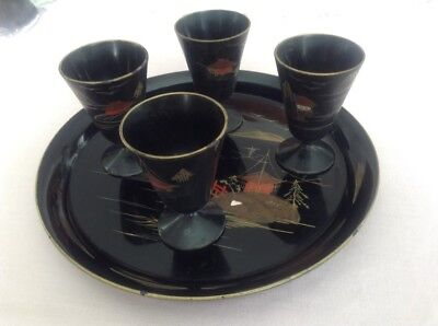 Japanese Sake Cups And Tray
