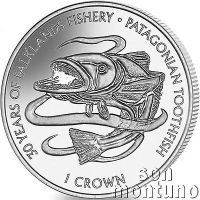 2017 PATAGONIAN TOOTHFISH - CuNi Copper Nickel Unc Coin Falkland Islands 1 Crown