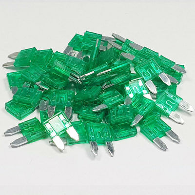 25 x 30 Amp Green Standard Blade Fuses Amps 30A Fuse Car Van Auto Marine ATO