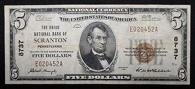 NATIONAL $5 BANKNOTE * Union National Bank - SCRANTON Penn. * Charter #8737