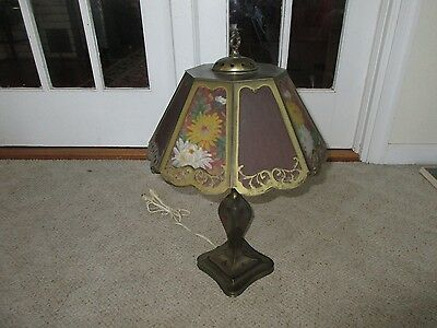 Antique Pairpoint  Table Lamp Glass Reverse Painted Floral Shade B3007