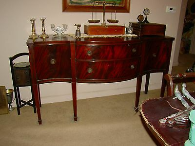 Vintage Union National Flame Mahogany Dining Set Classic Sideboard, Table,Chairs