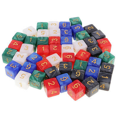 16mm D6 Dice Multicolored 6 Sided Die w/ Dice Carry Bag for Math Education