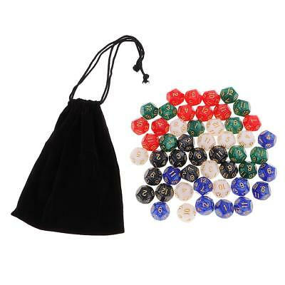 50 Die Polyhedral Set 16mm D12 Dice with Dice Carry Bag for Math Education