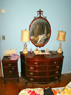 Vintage 40's Williamsport Flame Mahogany Bedroom Set Dresser, Tall Chest,Bed
