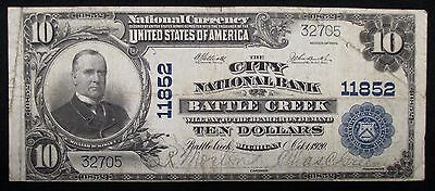 1902 NATIONAL $10 BANKNOTE * City National Bank of BATTLE CREEK, Michigan