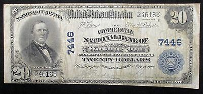 1902 NATIONAL $20 BANKNOTE * Commercial National Bank of WASHINGTON * Chtr #7446