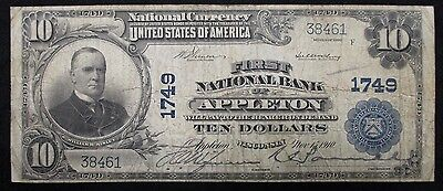 1902 NATIONAL $10 BANKNOTE * First National Bank -APPLETON Wisn. * Charter #1749