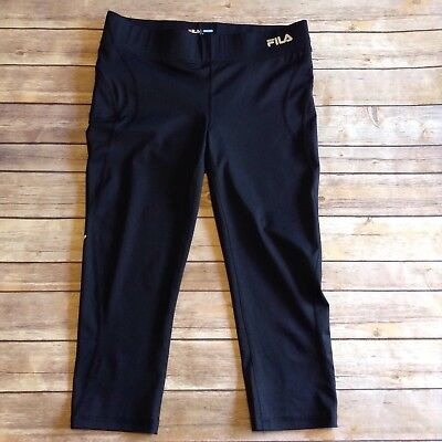 FILA Sport Women's Size Small Black Running Workout Yoga Capri Pants Leggings