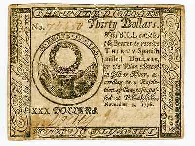 NOVEMBER 2nd 1776 - $30 CONTINENTAL CURRENCY FR#CC54 -  VERY FINE