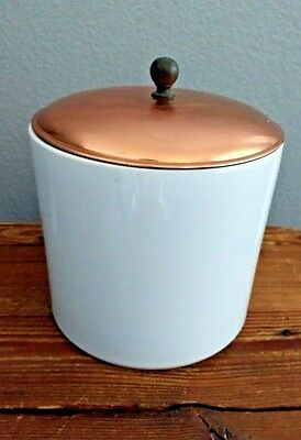 Vintage 1960's White Ceramic Canister W/ Copper Lid, Taurus, Made In Portugal