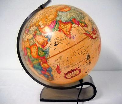 """Vintage 1980's World Discoverer Lighted Scan Globe A/S 12"""" with Acrylic Stand"""