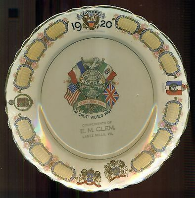 1920 The Great World War Victory Plate Compliments of E.M. Clem - Lantz Mills,VA