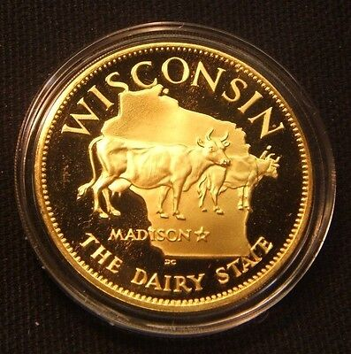 WISCONSIN~Franklin Mint~STATES OF THE UNION~24K .925 Sterling Silver 1.14 oz