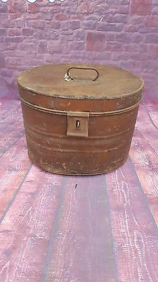 Original Antique Vintage Metal Hat  TinStorage Books CD DVD Box