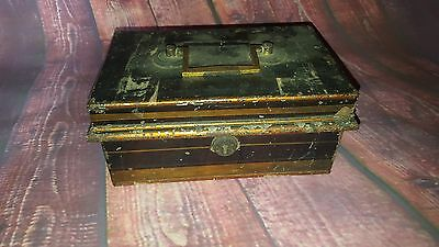 Antique Vintage Old Metal Money Cash Tin Register Till Safe Secure Box