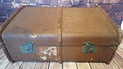 Vintage Wooden Banded Steamer Travel Trunk Blanket Toy Box Storage Coffee Table