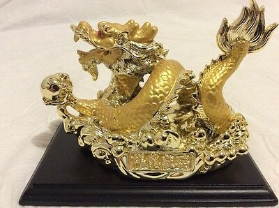 """Japanese Golden Good Luck Dragon - 4"""" High Including Stand - New Without Box"""