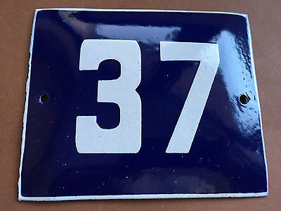 ANTIQUE VINTAGE ENAMEL SIGN HOUSE NUMBER 37 BLUE DOOR GATE STREET SIGN 1950's