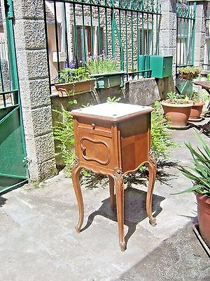 Bedside French chevet marble lined cabinet antique, mahogany with tiled top