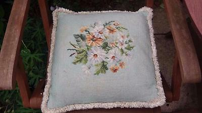 Vintage Fine Needlepoint Tapestry Embroidery Floral Velvet Cushion