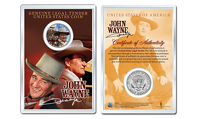 JOHN WAYNE - Americana OFFICIAL JFK Half Dollar U.S. Coin in PREMIUM HOLDER