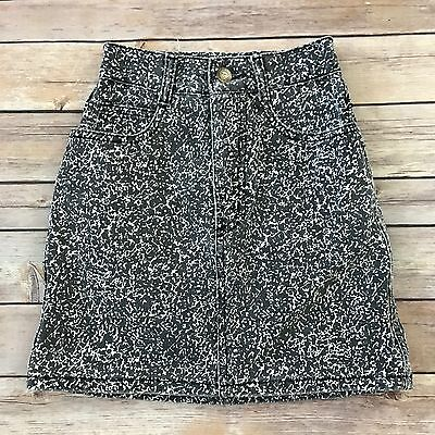 GUESS Girls Vintage Size 7 Black White Denim Skirt