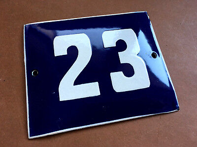 ANTIQUE VINTAGE ENAMEL SIGN HOUSE NUMBER 23 BLUE DOOR GATE STREET SIGN 1950's