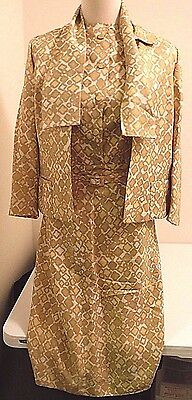 Davidow womens vintage suit skirt jacket set gold white 50's 60's stevenson sz s