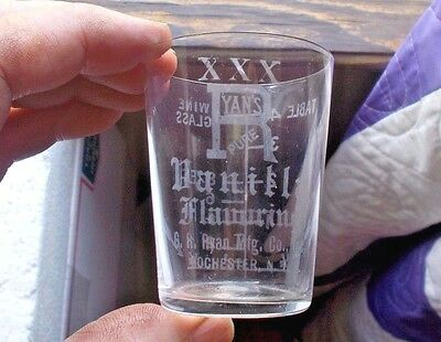 RYAN'S XXX PURE VANILLA FLAVORING ROCHESTER,NY 1890s ETCHED ADV MEASURE GLASS