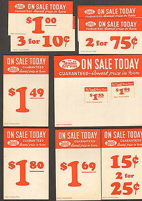 Lot Of 20 Misc. Cardboard Signs Advertising Rexall Drug Store Sale Items