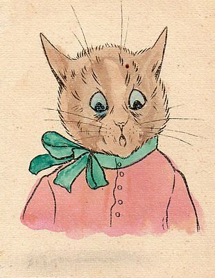 Louis Wain Self Colouring Cat Card From A Sheet Of Cards